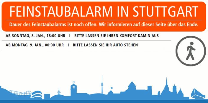 Screenshot Feinstaubalarm Homepage der Stadt Stuttgart